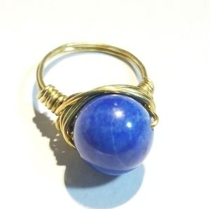 Hand Crafted Lapis Brass Wire Ring 7